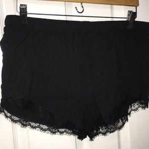 Express black lace trim drawstring shorts